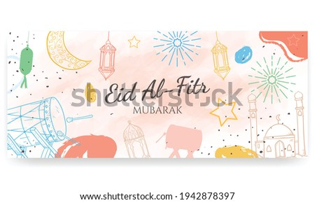 Eid Al Fitr mubarak, hand painted in pastel colors. doodle style. Horizontal poster, greeting card, header for website