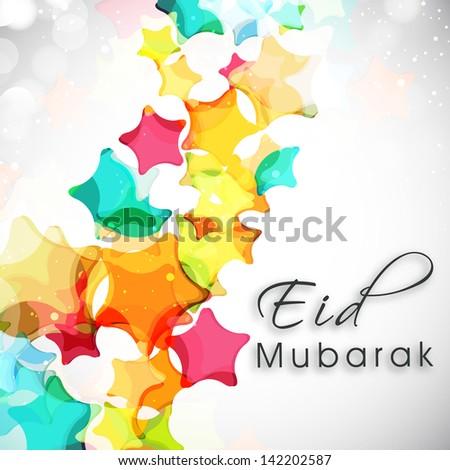 Eid Mubarak background with colorful stars on grey background. #142202587