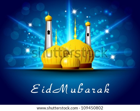 Eid Mubarak background with golden Mosque and Masjid. EPS 10.