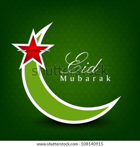 Eid Mubarak background with Moon and Stars on green. EPS 10. can be use as sticker, label.