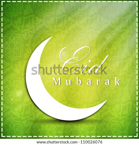 Eid  Mubarak background with moon. EPS 10.