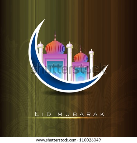 Eid Mubarak background with Mosque and Masjid on blue moon. EPS 10.