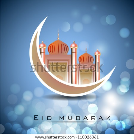 Eid Mubarak background with Mosque and Masjid on moon EPS 10.
