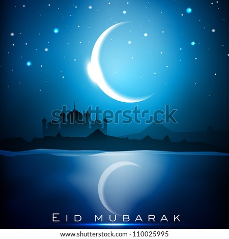 Eid Mubarak background with Mosque or Masjid and shiny moon. EPS 10.