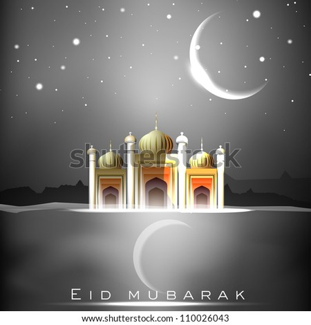 Eid Mubarak background with Mosque or Masjid and shiny moon EPS 10