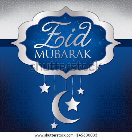 Eid Mubarak (Blessed Eid) hanging moon card in vector format.