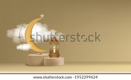 Eid Mubarak card Traditional Islamic lantern,Crescent moon and Star on gold background,Vector 3D background for Islamic religions,Ramadan Kareem,Eid al fitr,Eid al Adha,Happy Muharram,Islamic new year