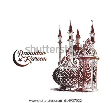Eid Mubarak celebration- calligraphy stylish lettering Ramadan Kareem text with mosque. Vector illustration.