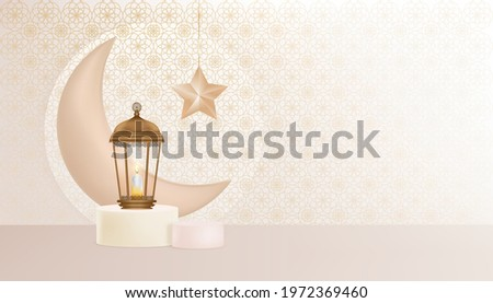 Eid Mubarak greeting design background with Traditional islamic lantern, Crescent Moon and Star on Podium.Vector Backdrop of Religions of Muslim Symbolic for Ramadan Kareem,Aid el fitre and el adha