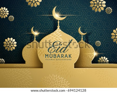 Eid mubarak greeting design, happy holiday words with golden mosque and floral background