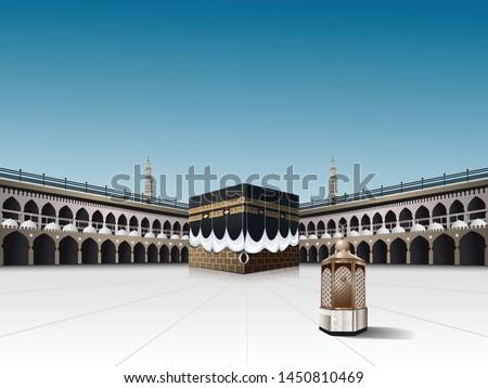 Eid Mubarak in Realistic Kaaba and Maqam Ibrahim or station of Prophet Ibrahim in Al-Haram Mosque Mecca Saudi Arabia, vector illustration for Ramadan Kareem And Hajj pilgrimage