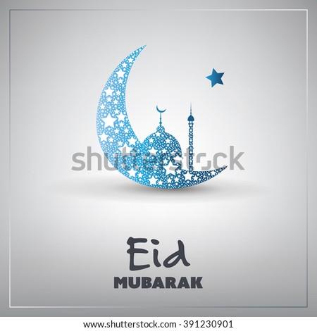 Eid Mubarak - Moon in the Sky - Greeting Card for Muslim Community Festival - Shutterstock ID 391230901