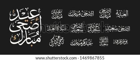 Eid Mubarak vector Arabic Calligraphy translate (Eid Mubarak)