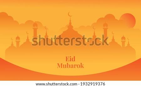 Eid Mubarok. Ramadhan, Mosque, Sun, Sunset, Sunrice, Orange, vector, Eid Mubarak. Ramadhan Kareem. Tempate