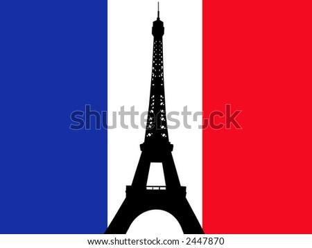 Eiffel tower against French flag illustration