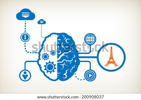Eiffel tower and abstract human brain, the concept of the information movement