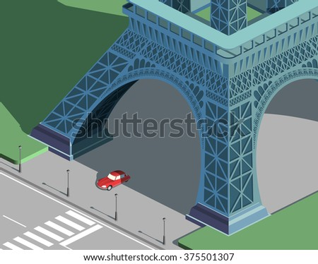 eiffel tower and red car