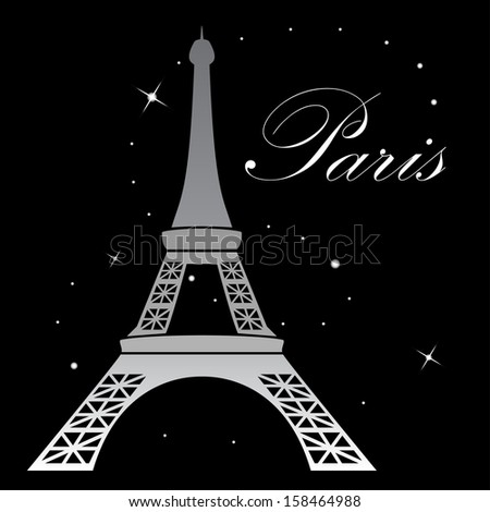 Eiffel Tower at night. Vector illustration