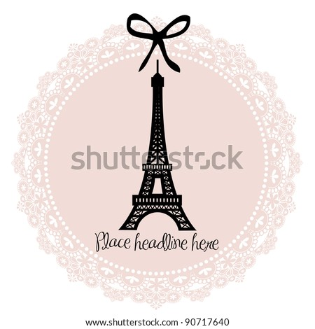 Eiffel tower border template vector illustration