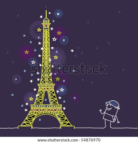 Eiffel Tower Cartoon Picture on Stock Vector Eiffel Tower By Night 54876970 Jpg