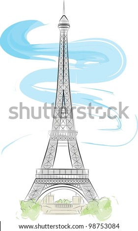 Eiffel tower color vector illustration