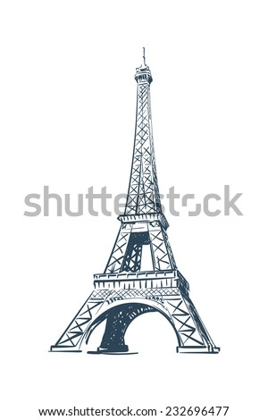Eiffel Tower drawn in a simple sketch style. Isolated contour on white background. EPS8 vector illustration.
