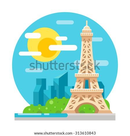 eiffel tower flat design