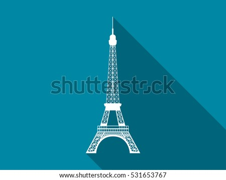 eiffel tower flat icon with
