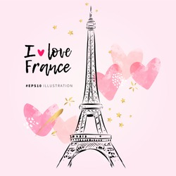 Eiffel Tower hand drawn vector illustration. I love France. Paris romantic art on the pink background with watercolor hearts and gold stars.