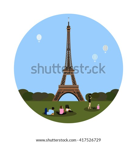 eiffel tower icon isolated on