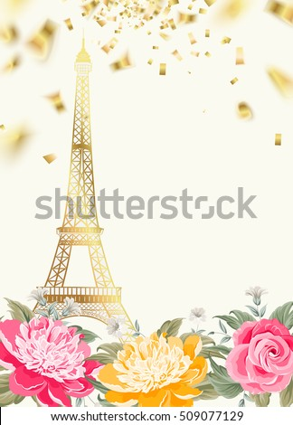 eiffel tower icon with golden