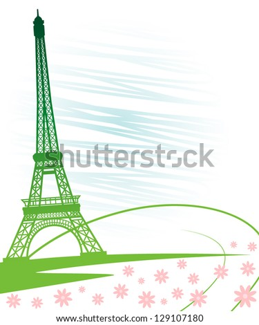 Eiffel tower in Paris for travel design.