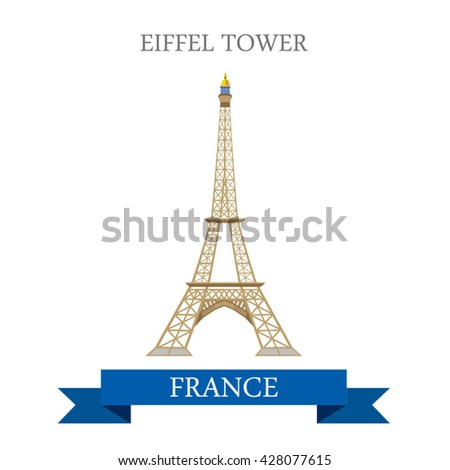 Eiffel Tower in Paris France. Flat cartoon style historic sight showplace attraction web site vector illustration. World countries cities vacation travel sightseeing Europe European French collection.