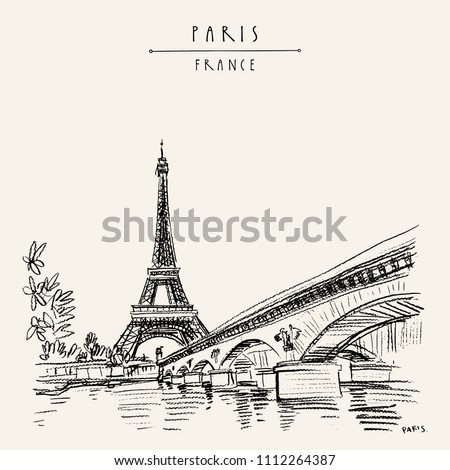 Eiffel Tower in Paris, France. Symbol of France, French icon. Bridge and water. Hand drawing in retro style. Travel sketch. Vintage hand drawn touristic postcard, poster or book illustration in vector