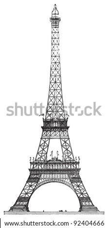 Eiffel tower in Paris (France) / vintage illustration from Meyers Konversations-Lexikon 1897