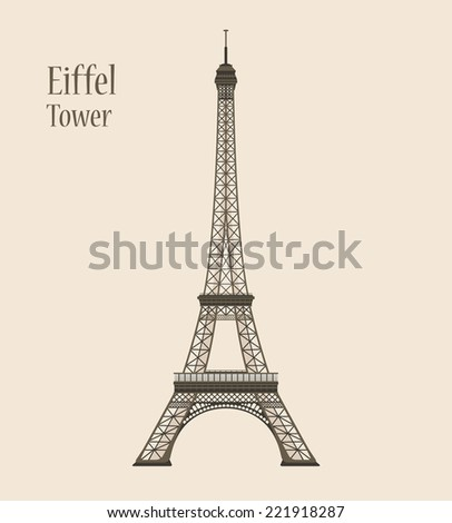 Eiffel Tower in Paris Silhouette Vector Illustration