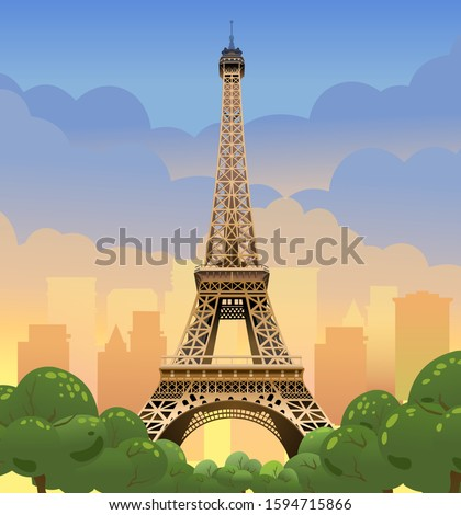 Eiffel Tower in Paris. Sunset on the Champs Elysees. Evening Paris.  Tourist place. Sunset in france. Vector illustration
