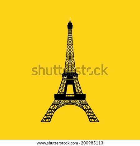 Eiffel tower in Paris. Vector illustration on yellow stock photo