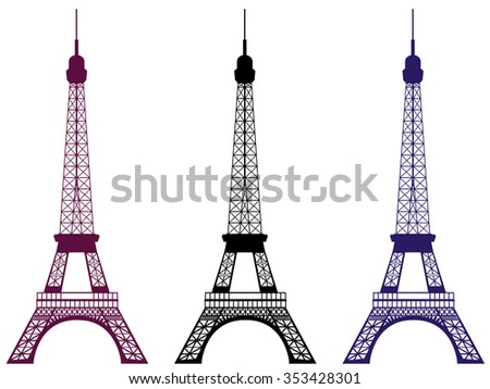 Eiffel Tower. Isolated object. Set.