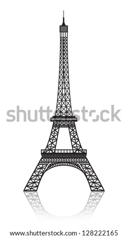 Eiffel tower isolated on white with reflection