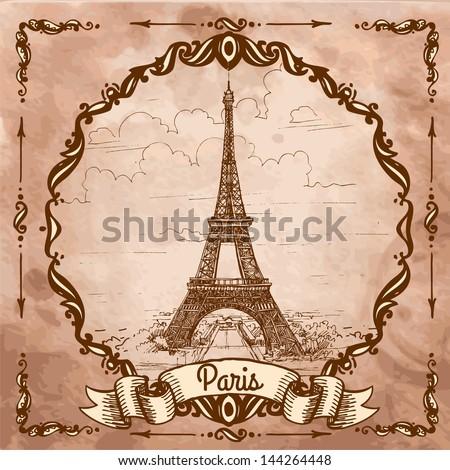 Eiffel tower Landscape on a vintage postcard sketch engraving