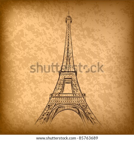 Picture  Eiffel Tower on Eiffel Tower On The Old Paper Stock Vector 85763689   Shutterstock