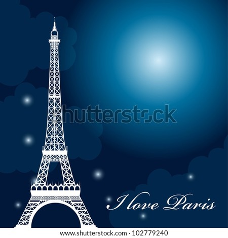 eiffel tower over night with stars and moon. vector illustration