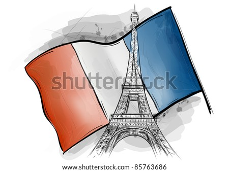 eiffel tower over the flag