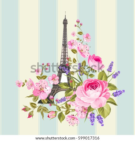 eiffel tower post card design....