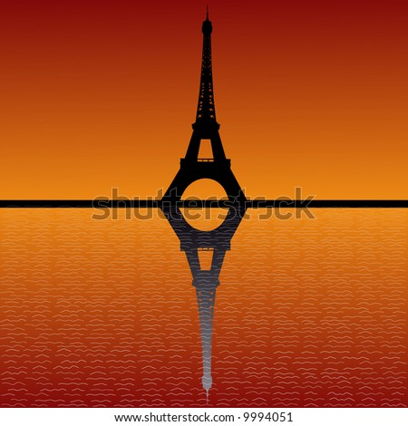 Picture Eiffel Tower Sunset on Eiffel Tower Reflected In Water At Sunset Stock Vector 9994051