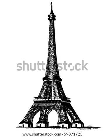 Eiffel Tower 2 - Retro Clip Art