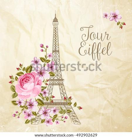 eiffel tower simbol with spring