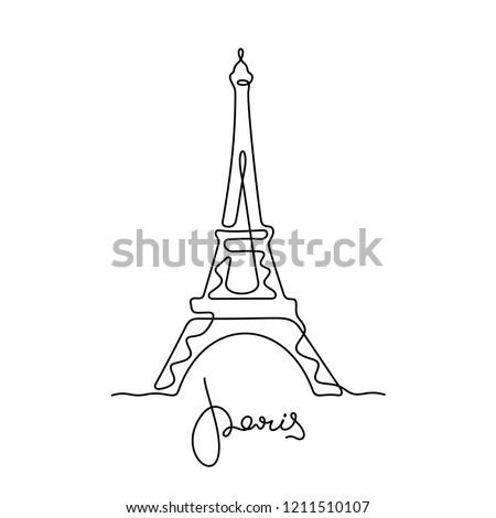 Eiffel tower sketch. Paris continuous line illustration