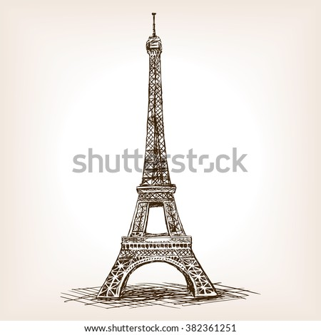 eiffel tower sketch style